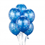 Blue Latex Balloons with Train Print