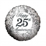 Silver 25th Anniversary Mylar Balloon