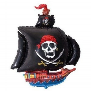 Mylar Black Pirate Ship Balloon