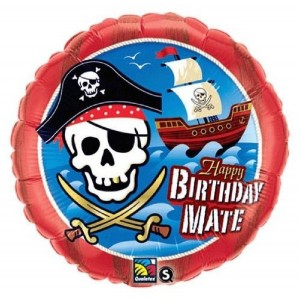 Pirate Happy Birthday Balloon Red