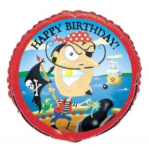 Pirate Happy Birthday Balloon Red Blue