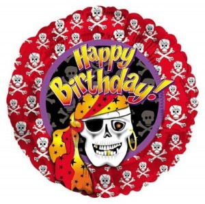 Pirate Happy Birthday Balloon Red Purple Yellow