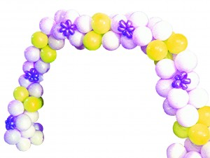 Purple and Yellow Balloon Arch