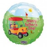 Happy Fathers Day Balloon Mylar Father and Golf Cart